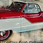 Red Mini Nash Vintage Car Art Print
