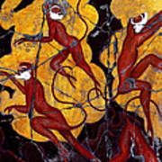 Red Monkeys No. 3 - Study No. 1 Art Print