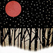 Red Moon And Snow Art Print by Carol Leigh