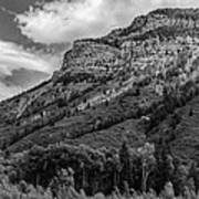 Red Mountain Cliffs In Black And White Art Print