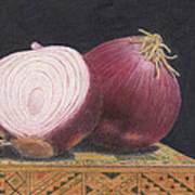Red Onions On Chess Box Art Print