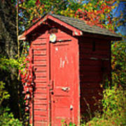 Red Outhouse Print by Paul Ward