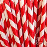 Red Paper Straws Art Print