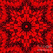 Red Patchwork Art Art Print