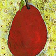 Red Pear Circle Pattern Art Art Print by Blenda Studio