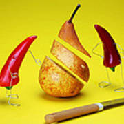 Red Peppers Sliced A Pear Art Print