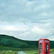 Red Phone Box On Rural Road Art Print