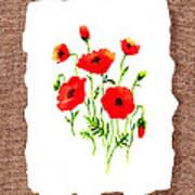Red Poppies Decorative Collage Print by Irina Sztukowski