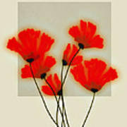 Red Poppies On Gray - Abstract Flower Art Art Print