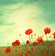 Red Poppy Field With Green Sky Art Print by Cecilia Brendel