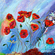 Red Poppy With Dragonfly Art Print