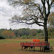 Red Pumpkin Wagon Art Print by Paulette Maffucci