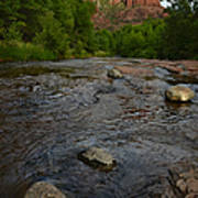 Red River Crossing Under Cathedral Rock Art Print