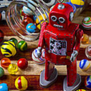 Red Robot And Marbles Art Print