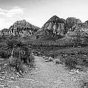 Red Rock Canyon Trailhead Black And White Art Print