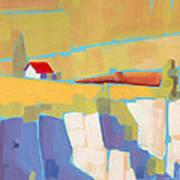 Red Roof Landscape Art Print