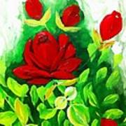 Red Roses From The Garden Impression Art Print
