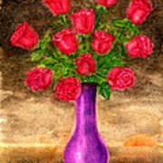 Red Roses In A Purple Vase Art Print