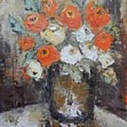 Red Roses In A Vase Art Print