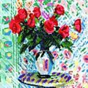 Red Roses In Water Art Print