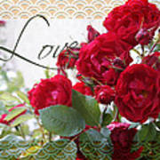 Red Roses Love And Lace Art Print