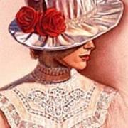 Red Roses Satin Hat Art Print