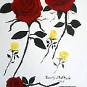 Red Roses Yellow Buds Art Print