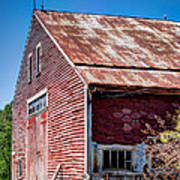 Red Rustic Weathered Barn Art Print