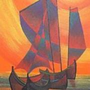 Red Sails In The Sunset Art Print by Tracey Harrington-Simpson