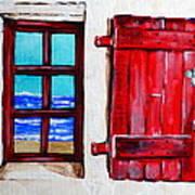 Red Shutter Ocean Art Print