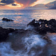 Red Sky Over Lanai Art Print by Mike  Dawson