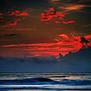 Red Sky Over Ocean Art Print