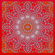 Red Space Flower Art Print