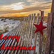 Red Star On Fence Art Print