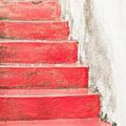 Red Stone Steps Art Print