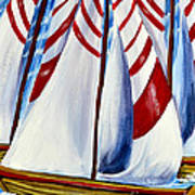 Red Stripe Sails Art Print