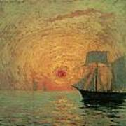 Red Sun Art Print by Maxime Maufra