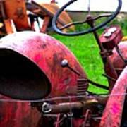 Red Tractor Rural Photography Art Print