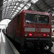 Red Train To The Main Train Station In Frankfurt Am Main Germany Art Print