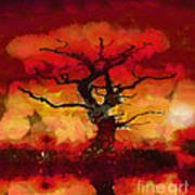 Red Tree Of Life Art Print by Pixel Chimp
