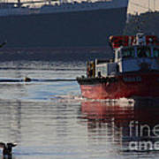 Red Tug Boat Art Print