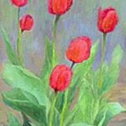 Red Tulips Colorful Painting Of Flowers By K. Joann Russell Art Print