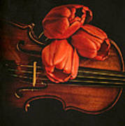 Red Tulips On A Violin Art Print