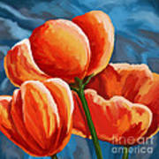 Red Tulips On Blue Art Print