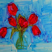Red Tulips With Blue Background Art Print by Patricia Awapara