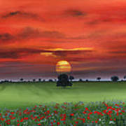 Red Tuscan Sunrise With Poppy Field Art Print