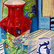 Red Vase And Cup Art Print