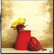 Red Vase Red Bird And Red Yellow Rose Art Print by Marsha Heiken