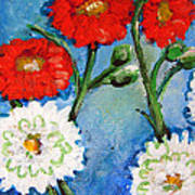 Red White And Blue Flowers Art Print