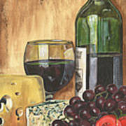 Red Wine And Cheese Art Print